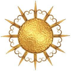 French Midcentury Gilt Iron Eyelash Sunburst Ceiling or Wall Light Fixture