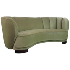 Vintage 1930s-1940s Danish Banana Sofa with Original Green Velvet Upholstery