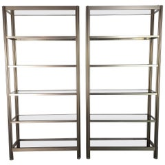 Pair of 1960s-1970s Aluminium & Smoked Glass Shelving Units by George Ciancimino