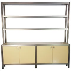 Vintage 1960s-1970s Aluminium and Smoked Glass Credenza by George Ciancimino