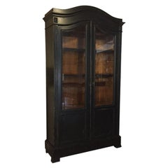 19th Century French Ebonized Wood Vitrine with Shelves and Drawers, 1890s