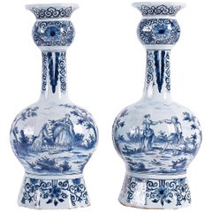 Sign WK, Dutch Early 18th Century, Delft Faience Pair of Gourd-Shaped Vases