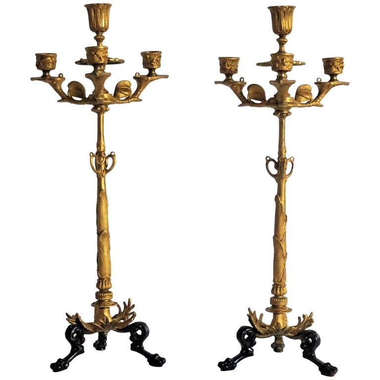 19th Century Pair of French Empire Gilt Bronze Four-Light Candelabra 1