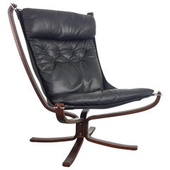 Vintage 1970s High Back Black Leather Falcon Chair Designed by Sigurd Resell