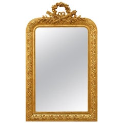 Antique French Mirror with Pediment Louis XVI Style