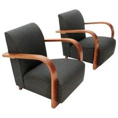 Italian Modernist Lounge Chairs, 1940s, Set of 2