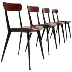 Italian Midcentury Red Ant Dining Chair, 1950s, Set of 4