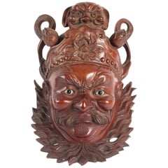Wooden Mask of a Chinese Traditional Opera Personage, Sulfur Eyes, 1900