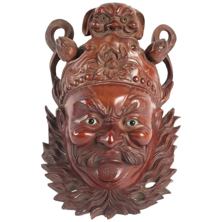 Wooden Mask of a Chinese Traditional Opera Personage, Sulfur Eyes, 1900 For Sale