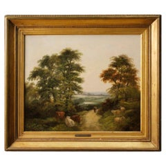 J. Barker 19th Century Oil on Canvas English Landscape Painting, 1880