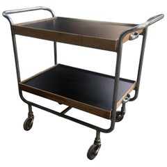 Mid-Century Modern Italian Chrome Bart Cart with Wooden Shelves, 1960s