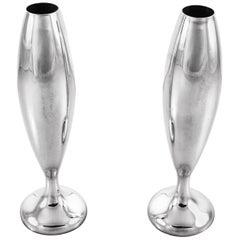 Japanese Sterling Bud Vases