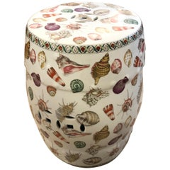 Wonderful Shell Motife Porcelain Garden Seat End Table