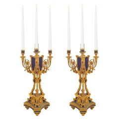 Pair of Early 19th Century French Louis XVI St. Lapis and Ormolu Candelabras
