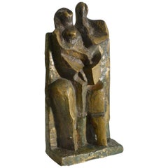 Cubist Bronze Sculpture of Man and Women Standing, Dutch, 1960s