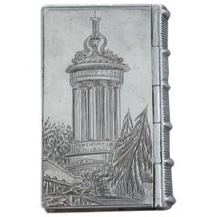 Victorian Silver Book Form Castle-Top Vinaigrette, Burns Monument, 1843