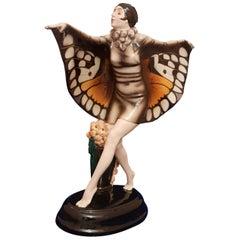 Lorenzl Josef, Goldscheider, Art Deco Butterfly Dancer Sculpture Ceramic, 1922