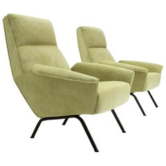 Italian Midcentury Acid Green Velvet Armchair, 1950s, Set of 2