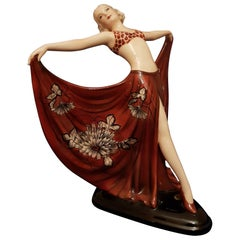 Goldscheider- Lorenzl Josef, Ceramic Dancer Sculpture Art Deco Germany, 1936