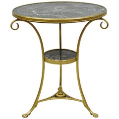 French Bronze Neoclassical Round Green Marble Top Gueridon Centre Lamp Table