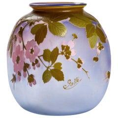 Emile Gallé Cameo Glass Apple Blossom Vase