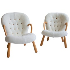 Pair of Philip Arctander Clam Chairs in Shearling, Mid-Century, Scandinavian
