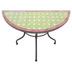 Lime Green and Red Trim Moroccan Mosaic Side Table - Half-Moon