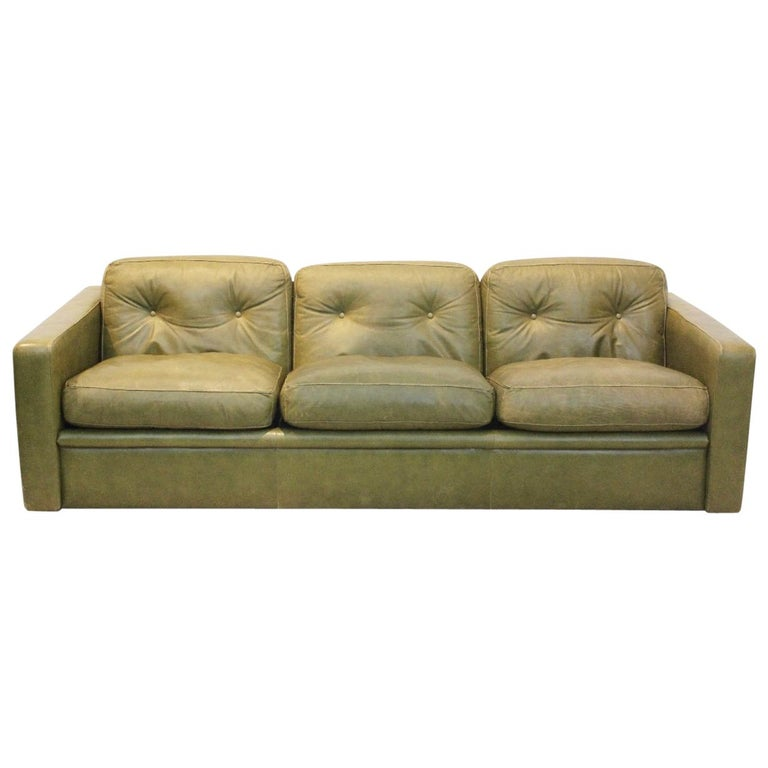 Three-Seat Sofa by Poltrona Frau in Olive green leather, Italy 1970s For Sale