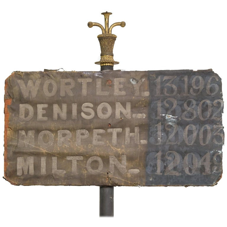19th Century United Kingdom General Election Results Sign, Hand Painted on Stand For Sale