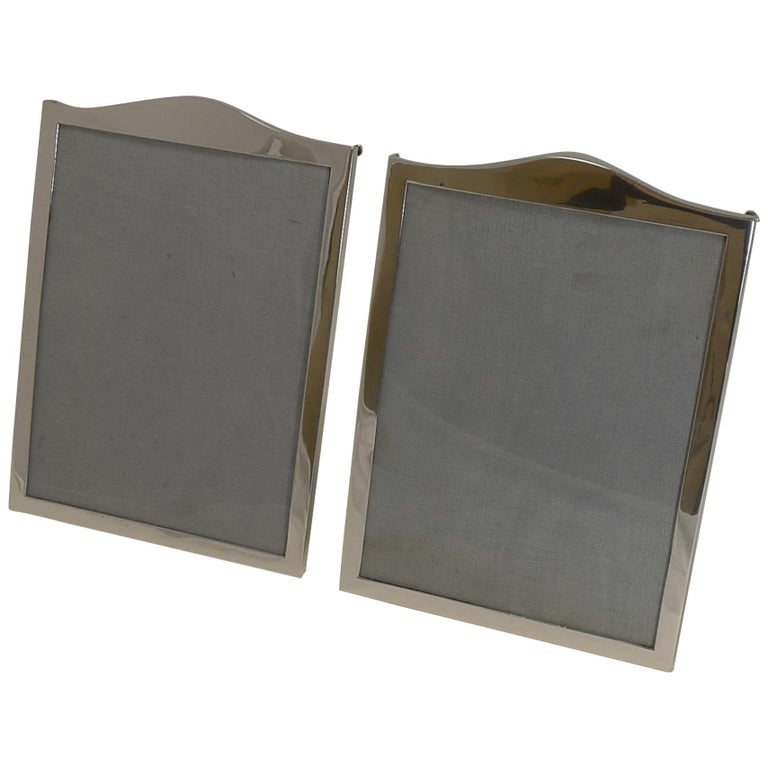 Elegant Pair Antique English Sterling Silver Photograph Frames - 1919 For Sale