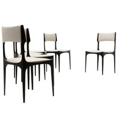 Black and grey dining chair by Giuseppe Gibelli for Sormani, 1950s, set of 6