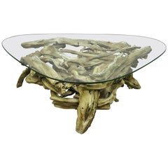 Sculptural Driftwood Mid-Century Modern Coffee Table with Glass Top