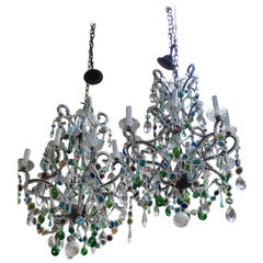 Mid-Century Modern Pair of Italian Murano Glass Chandelier with Colored Glasses