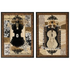 Pair of Black, Cream and Gold Mixed-Media Collages Titled Bride & Groom