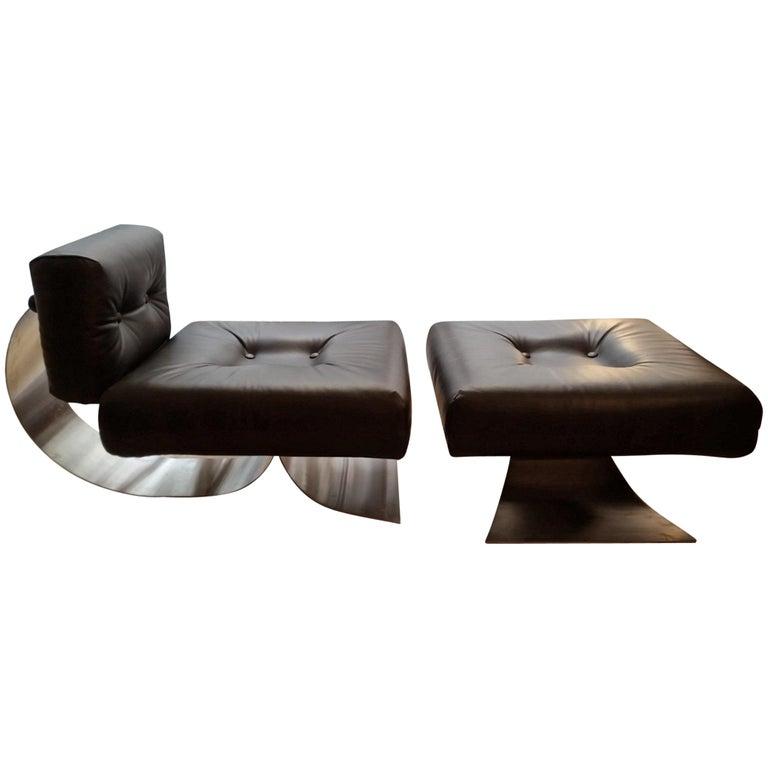 "Oscar Niemeyer Dark Brown Armchair and Ottoman ""Brazilia ON1"" Model  For Sale"