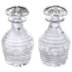 Quality Pair of Antique Cut Glass Crystal Decanters