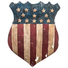 American Folk Art Patriotic Flag Shield