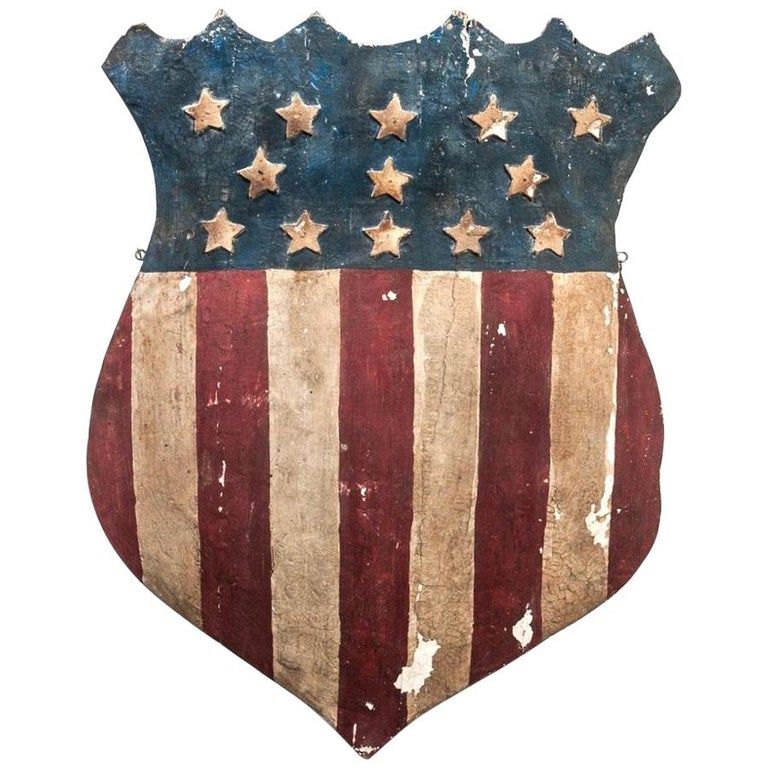 American Folk Art Patriotic Flag Shield For Sale