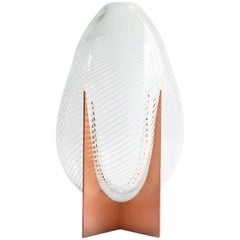 Venturi Pear White Vase, Murano Glass and Metal by Lara Bohinc, In Stock