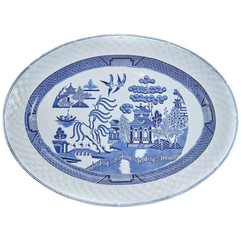 Large Antique Chinese Blue And White Willow Pattern Meat Platter For