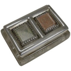 Antique English Cut Crystal and Sterling Silver Double Postage Stamp Box - 1902