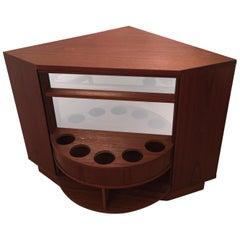 Teak Corner Bar Cabinet with Rotating Mirrored Shelf
