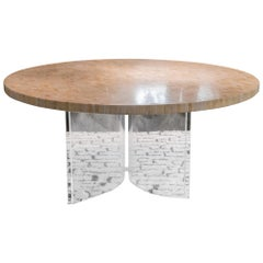 1970s French Round Dining Table, Travertine Tiles Round Top and Plexiglass Base