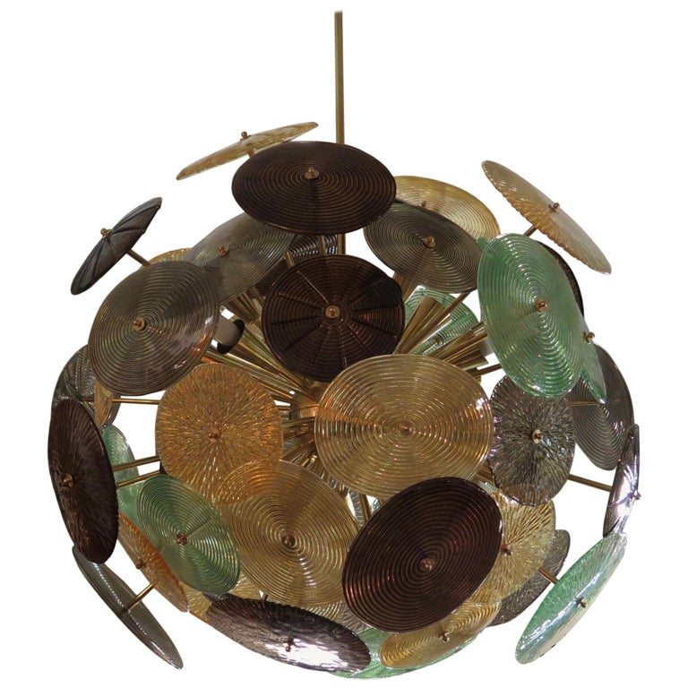 Murano Sputnik Art Glass Midcentury Chandelier, 1960 For Sale