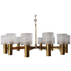 1960s Italian Chandelier with Cut Crystal Shades by Arredoluce Monza
