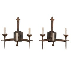 Pair of French Three-Light Midcentury Torch-Style Iron Sconces