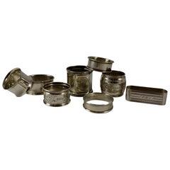 Sterling Silver Antique Napkin Rings, a Mixed Set of Eight, Various Makers