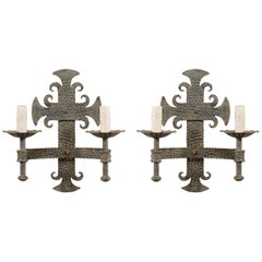 Pair of French Two-Light Iron Sconces with Fleur Des Lis Motifs