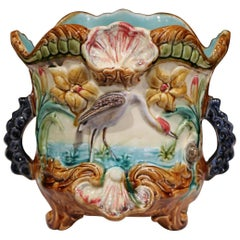 19th Century French Painted Ceramic Barbotine Cache Pot with Flamingos and Reeds