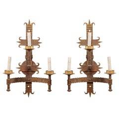 Pair of French Mid-20th Century Forged-Iron Gold Sconces with Fleur-de-Lis Motif